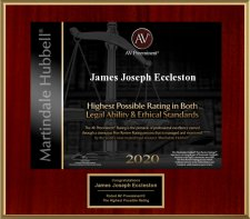 James Eccleston Achieves Highest Rating in Both Legal Ability and Ethical Standards for 2020